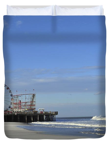 Funtown Pier Seaside Heights Nj Jersey Shore Duvet Cover by Terry DeLuco