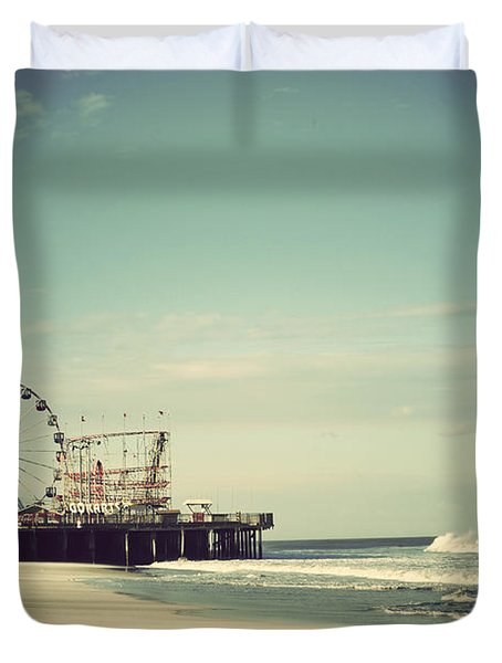 Funtown Pier Seaside Heights New Jersey Vintage Duvet Cover