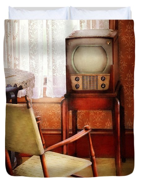 Furniture - Chair - The Invention Of Television  Duvet Cover by Mike Savad