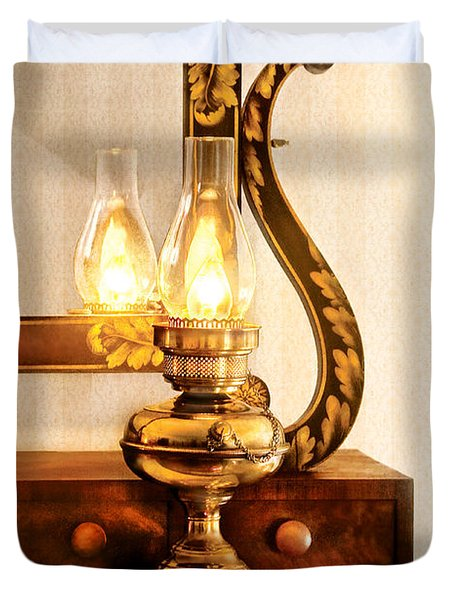 Furniture - Lamp - The Bureau And Lantern Duvet Cover by Mike Savad
