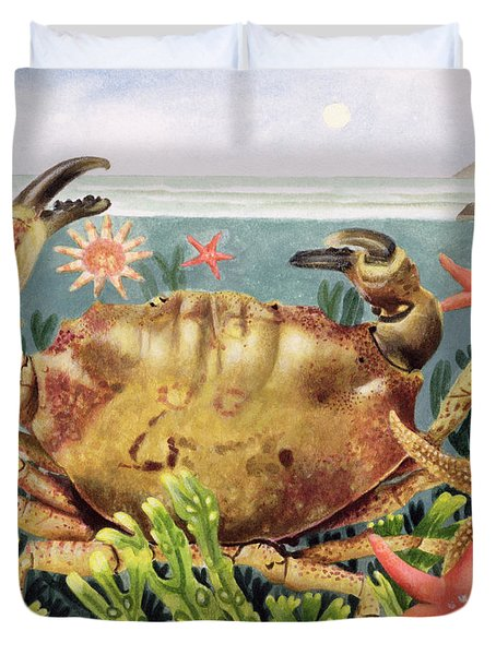Furrowed Crab With Starfish Underwater Duvet Cover