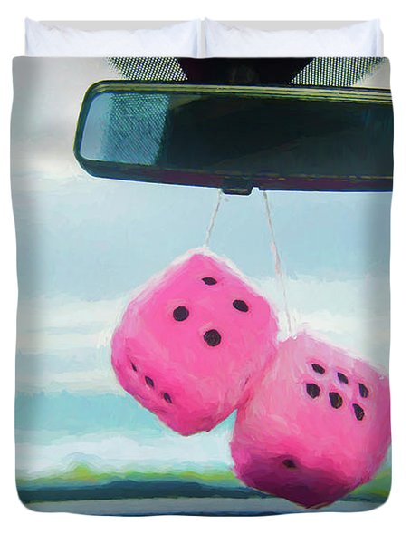 Furry Dice Hanging In A Car Duvet Cover