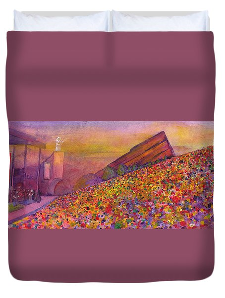 Duvet Cover featuring the painting Furthur At Redrocks 2011 by David Sockrider