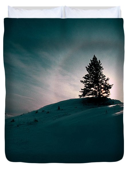 Fv4157, Will Datene Pine Tree On A Hill Duvet Cover by Will Datene