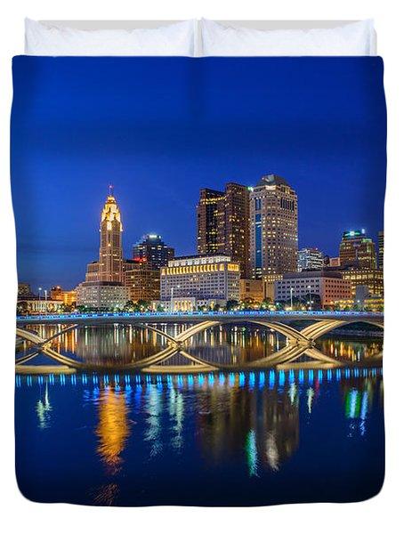 Fx2l530 Columbus Ohio Night Skyline Photo Duvet Cover