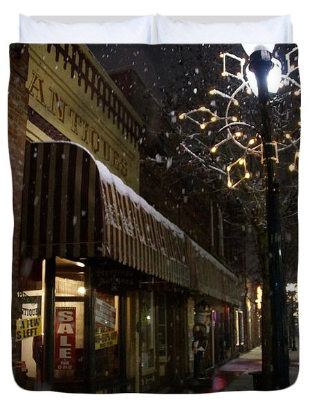 G Street Antique Store In The Snow Duvet Cover by Mick Anderson