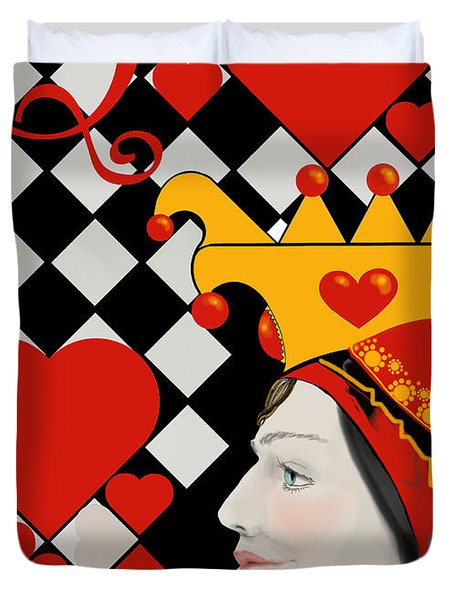 Duvet Cover featuring the painting Gabby Queen Of Hearts by Carol Jacobs