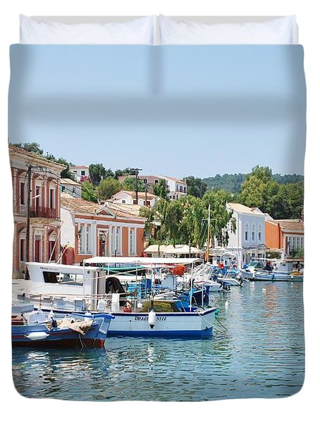 Gaios Harbour On Paxos Duvet Cover