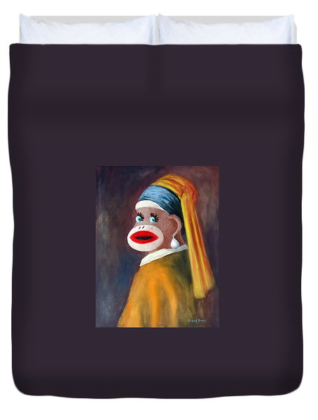 Duvet Cover featuring the painting Gal With A Pearl Earbob by Randol Burns