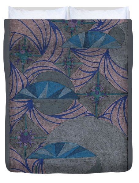 Duvet Cover featuring the drawing Galactic by Kim Sy Ok
