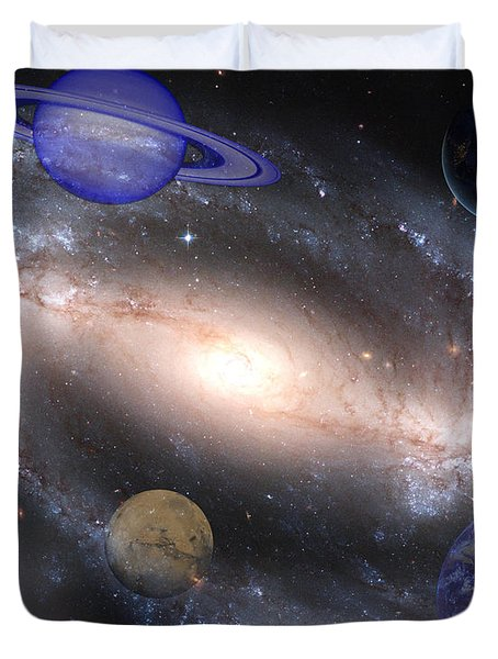 Galaxies And Planets Duvet Cover by J D Owen
