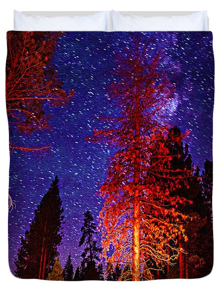 Duvet Cover featuring the photograph Galaxy Stars By The Campfire by Jerry Cowart