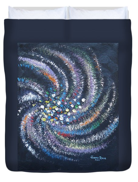 Duvet Cover featuring the painting Galaxy Swirl by Judith Rhue