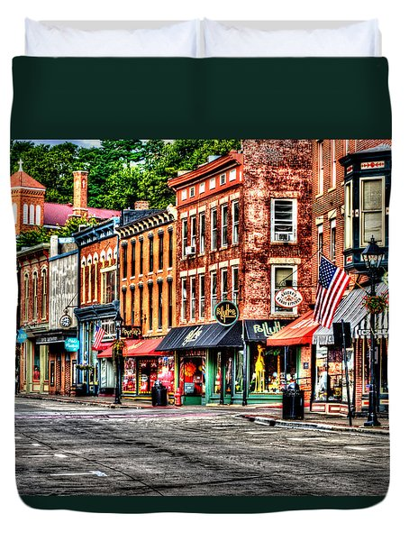 Galena Main Street Early Summer Morning Duvet Cover