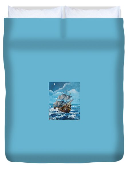 Galleon At Night Duvet Cover