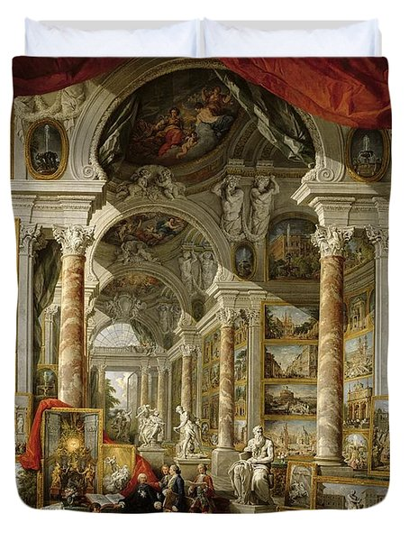 Gallery With Views Of Modern Rome Duvet Cover by Panini