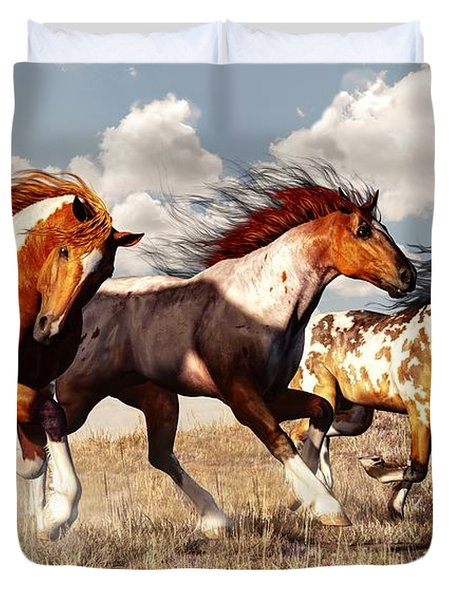 Galloping Mustangs Duvet Cover