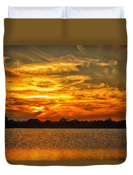 Galveston Island Sunset Dsc02805 Duvet Cover