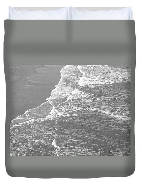 Galveston Tide In Grayscale Duvet Cover