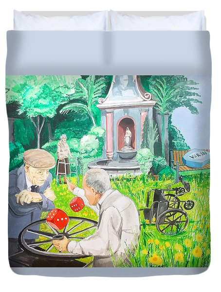 Duvet Cover featuring the painting Gambling Grandma  by Lazaro Hurtado