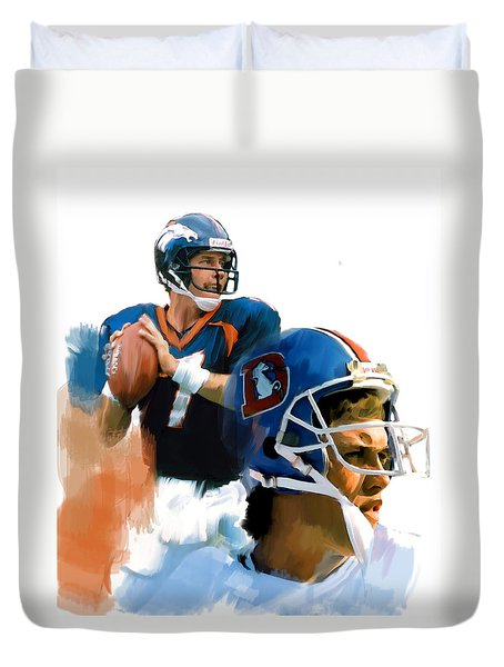 Duvet Cover featuring the painting Game Elway  John Elway by Iconic Images Art Gallery David Pucciarelli