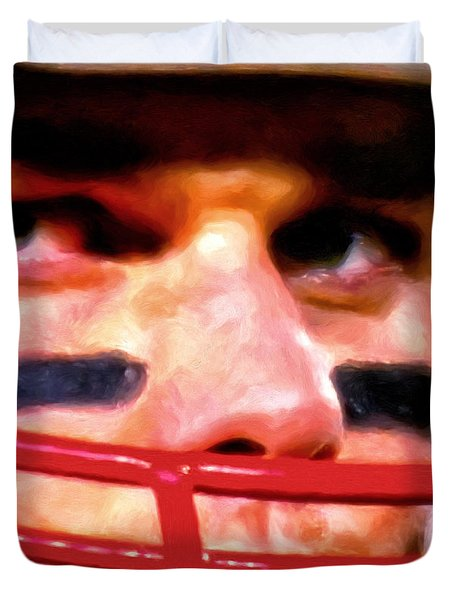 Game Face Duvet Cover by Michael Pickett