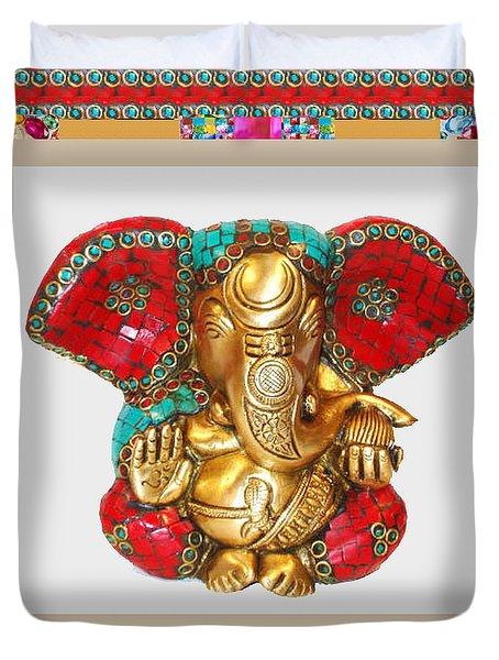Ganapati Ganesh Idol Hinduism Religion Religious Spiritual Yoga Meditation Deco Navinjoshi  Rights M Duvet Cover