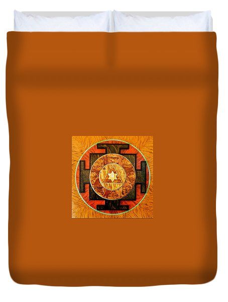 Ganesha Sacred 3d High Relief Artistically Crafted Wooden Yantra    23in X 23in Duvet Cover by Peter Clemens