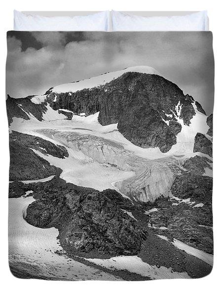 509427-bw-gannett Peak And Gooseneck Glacier, Wind Rivers Duvet Cover