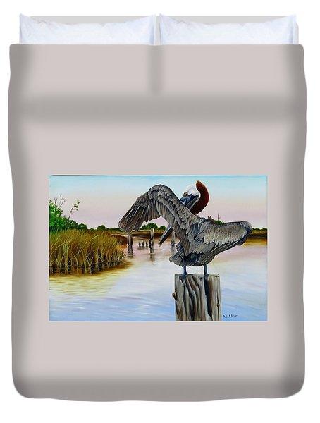 Gar Lake Pelican 2 Duvet Cover
