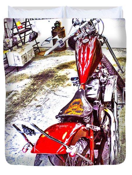 Duvet Cover featuring the digital art Garage Kept by Lesa Fine