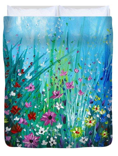 Garden At Early Morning Duvet Cover by Kume Bryant
