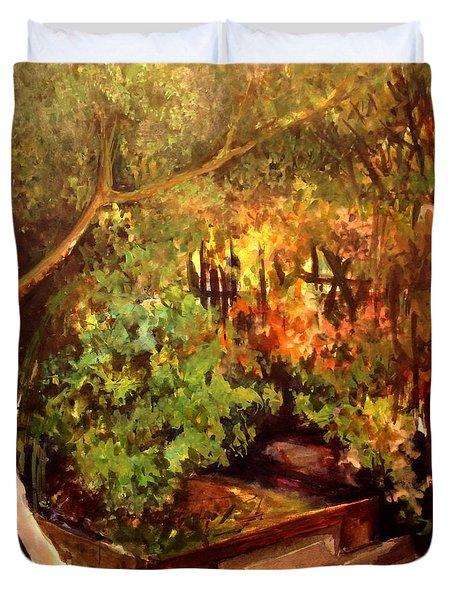 Garden Backyard Corner Duvet Cover by Mikhail Savchenko