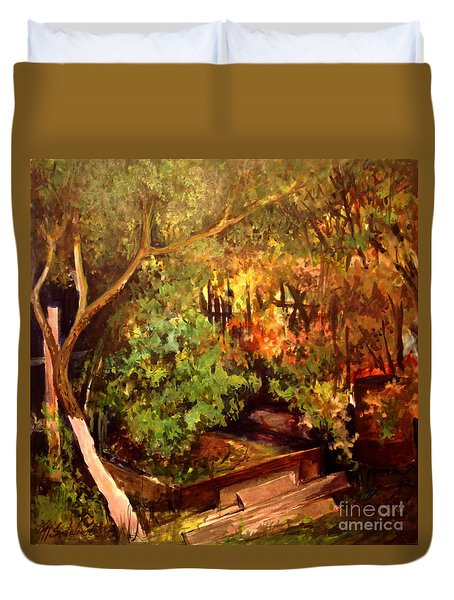 Garden Backyard Corner Duvet Cover