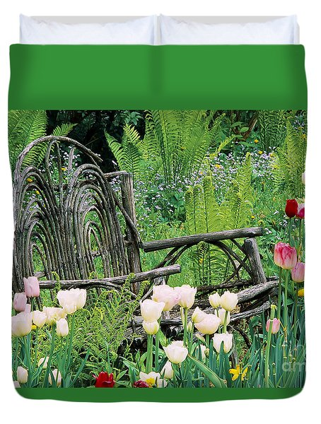 Duvet Cover featuring the photograph Garden Bench by Alan L Graham