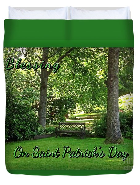 Garden Bench On Saint Patrick's Day Duvet Cover