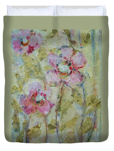 Duvet Cover featuring the painting Garden Bliss by Mary Wolf
