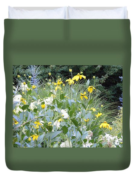 Garden Bouquet In Blue And Yellow Duvet Cover