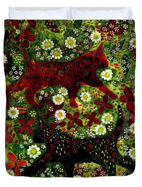 Garden Cats Duvet Cover