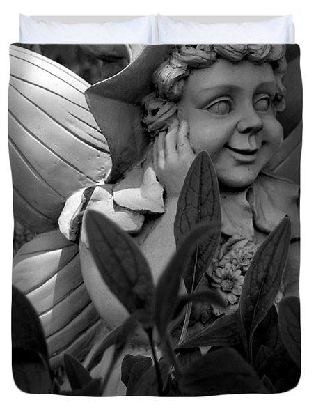Garden Fairy Statue Duvet Cover