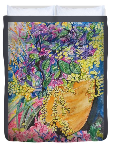 Garden Flowers In A Pot Duvet Cover