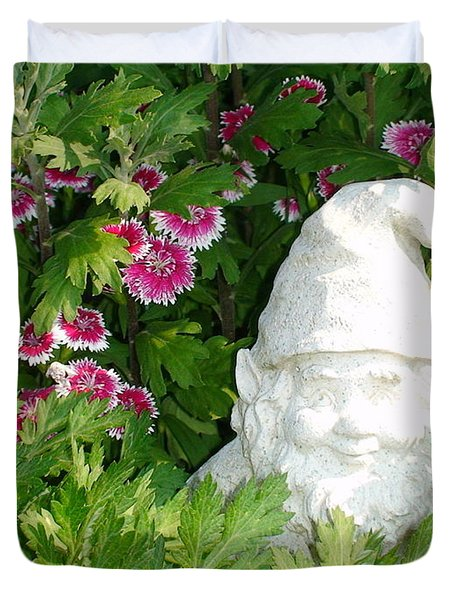 Duvet Cover featuring the photograph Garden Gnome by Charles Kraus