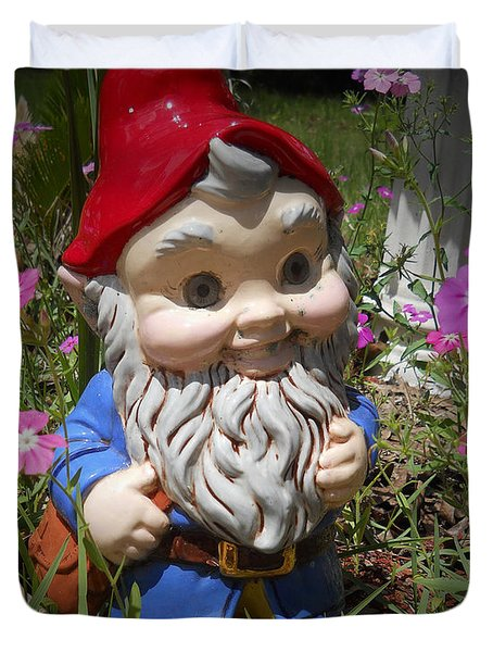 Garden Gnome Duvet Cover by Judy Hall-Folde