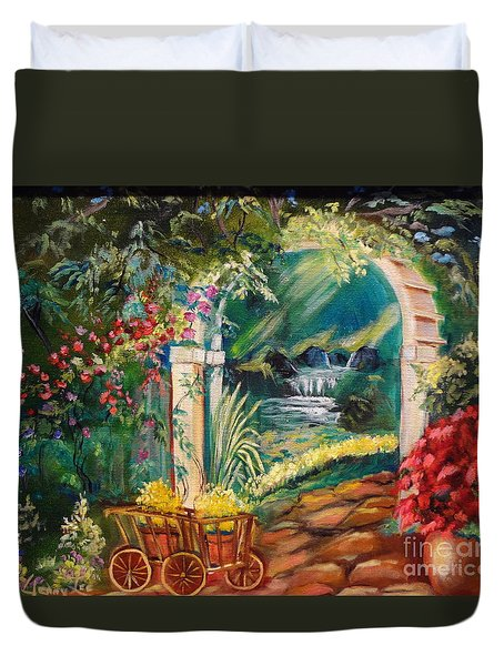 Duvet Cover featuring the painting Garden Of Serenity Beyond by Jenny Lee