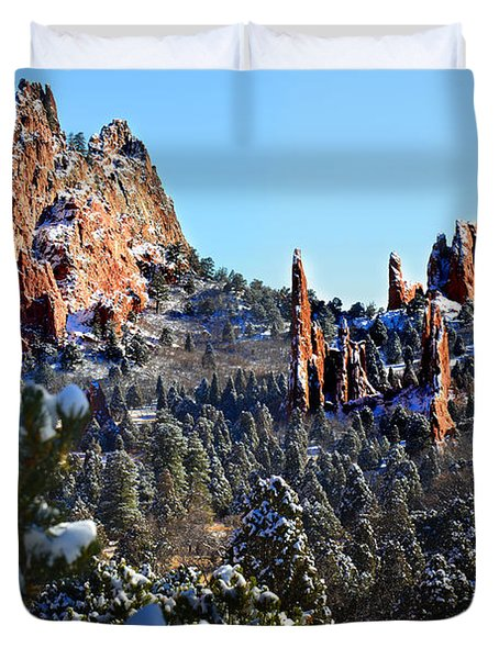 Duvet Cover featuring the photograph Garden Of The Gods After Snow Colorado Landscape by Jon Holiday