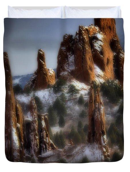 Duvet Cover featuring the photograph Garden Of The Gods by Ellen Heaverlo