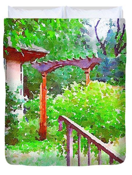 Garden Path With Arbor Duvet Cover