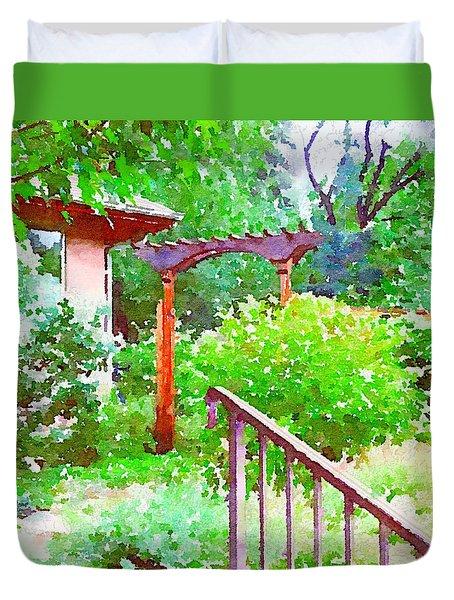 Garden Path With Arbor Duvet Cover by Anna Porter