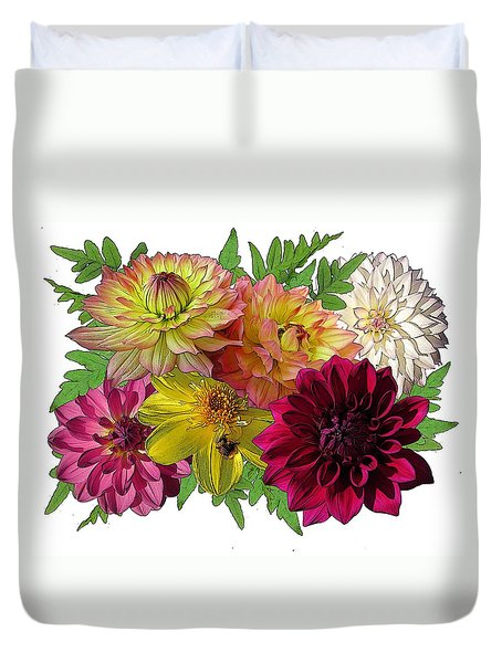Duvet Cover featuring the digital art Garden Scents by I'ina Van Lawick