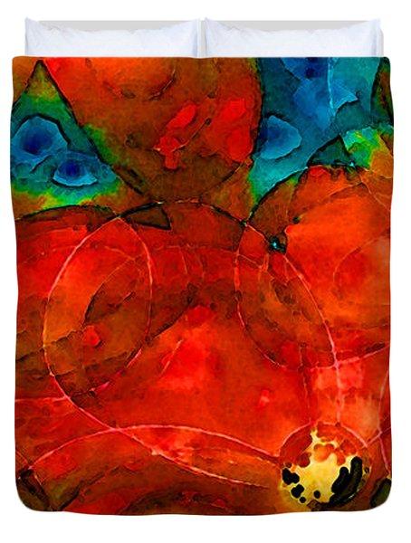 Garden Spirits - Vibrant Red Flowers By Sharon Cummings Duvet Cover by Sharon Cummings